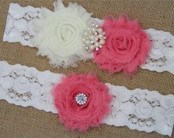Ivory and Sherbet Wedding Garter,Bridal Garter Set,Keepsake Garter,Toss Garter,Ivory Lace Garter,Ivory Wedding Garter Belt - 432