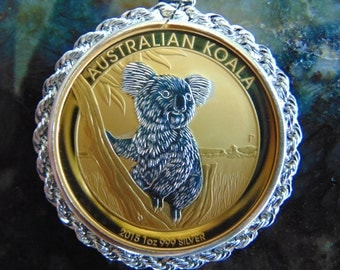 24k Gold Enhanced Pure Silver Koala Necklace, One Very Cuddly Little Critter