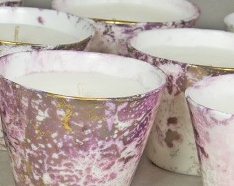 Kitten Pink Gold Marbled Translucent Scented Candle
