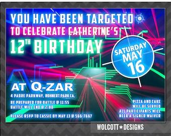 Laser Tag Invitation, Laser Tag Birthday, Laser Tag Party, Laser Tag Invite, Boys, Girls Laser Tag