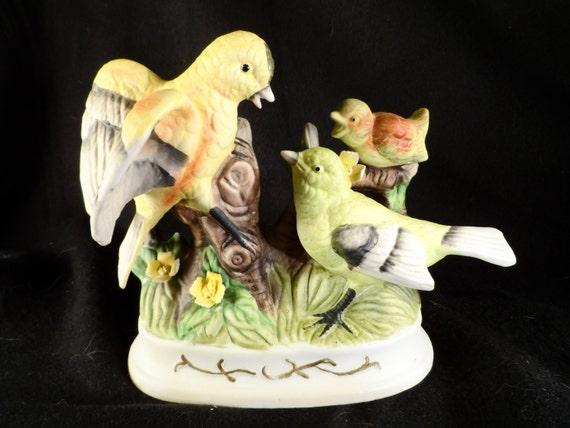 Bird Figurine-3 Birds Ceramics Figurine-Parrots with Baby Sculpture-Home decor