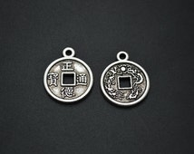 20pc Cute 15mm Antique Silver Color Alloy Metal Coin Beads Charms Carved Chinese words DIY Jewelry making