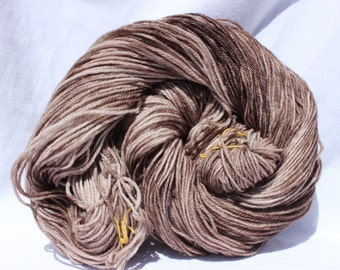 RTS Hand dyed yarn,  brown yarn, variegated yarn, worsted weight yarn, superwash merino wool, 100g