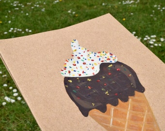 Pack of 3 greeting cards, hand-painted ice creams.