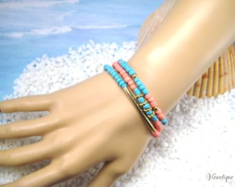 Bracelet Set, Stretch Bracelet Set, Beachy Bracelet Set, Boho Bracelets, Coral Bracelet, Turquoise Bracelet, Summer Jewelry, Beachy Jewelry