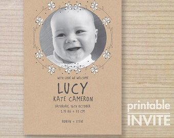birth announcement - printable card - brown paper - white daisy chain with image - girl birth thankyou
