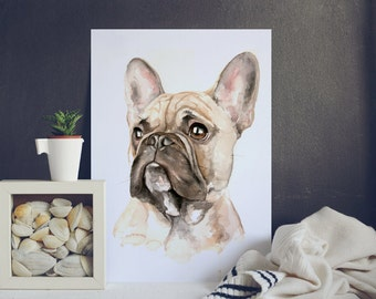 Watercolor painting custom pet, dog portrait