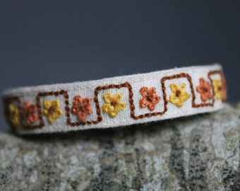 Embroidered Bracelet Yellow Brown Flowers Ethnically Feminine Handmade Hand Stitched