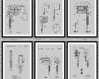 Tattoo Patent Prints - Set of 6 - Tattoo Patent, Tattoo Poster, Tattoo gun Blueprint, Tattoo machine Print, Tattoo Art, tattoo Decor, sp35