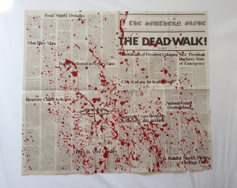 George A. Romero's DAY of the DEAD The Dead Walk! Newspaper Prop Replica BLOOD Splattered Version 9