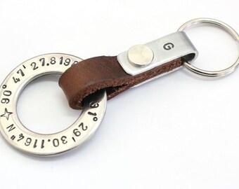 Mens personalized latitude longitude keychain,custom coordinates keychain,GPS keychain, personalized keychain,steel keychain , mens keychain