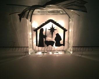Nativity Scene Glass Block, Nativity Glass Block, Christmas Glass Block, Lighted Glass Block, Nativity Set, Etched Nativity Glass Block