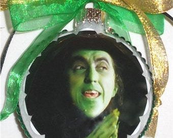 Wizard of Oz Wicked Witch inspired tribute Glass Christmas Ornament