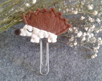 Fall Planner Clip - Hedgehog Paper Clip, Felt Bookmark, Planner clip, Planner accessories, Page clip
