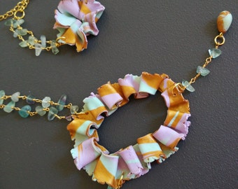"Fluorite necklace lariat necklace-collection ""Spring"""