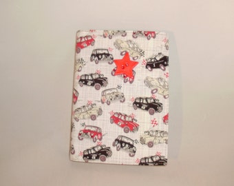 Fabric covered notebook - A6 - 'British Car' fabric Red Black and Grey