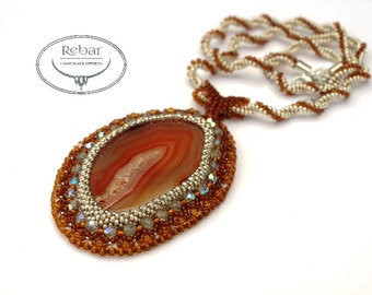 Bead Embroidery Necklace, Agate Pendant Necklace ,Agate Slice Jewelry, Brown Pendant