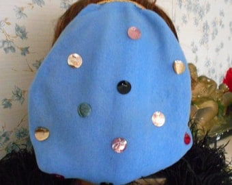 Light Blue 1940's Felt Snood with Sequins