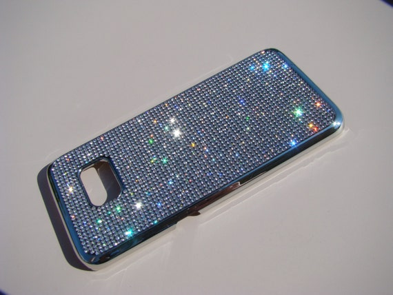 Galaxy S7 Edge Clear Diamond Rhinestone Crystals on Silver Chrome Case. Velvet/Silk Pouch Bag Included, Genuine Rangsee Crystal Cases