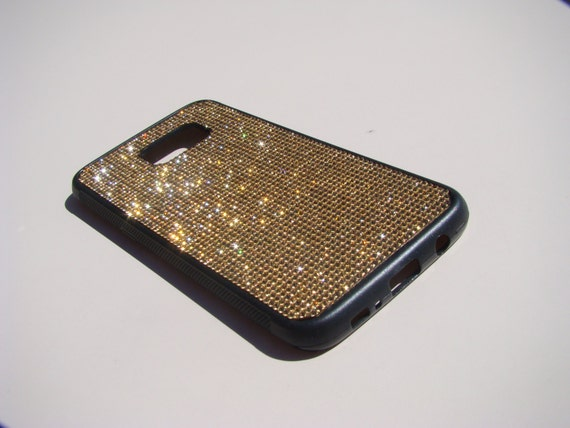 "Galaxy S7 ""Edge"" Gold Topaz Crystals on Black Rubber Case. Velvet/Silk Pouch Bag Included, Genuine Rangsee Crystal Cases."