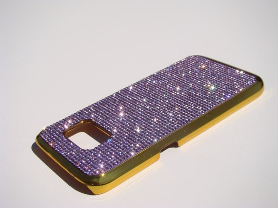 Galaxy S7 Purple Amethyst Rhinestone Crystals on Gold-Bronze Chrome Case. Velvet/Silk Pouch Bag Included, Genuine Rangsee Crystal Cases