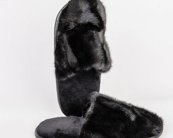 Natural Mink Black Slippers Men