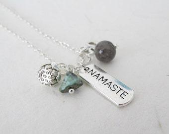 Yoga necklace, lotus necklace, ohm necklace