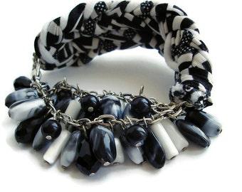 Boho Bracelet, Black White Bracelet, Fabric bracelet, Women bracelet, cuff bracelet, Ethnic bracelet, ooak bracelet,  Gypsy Bracelet Handmad