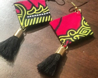 West Africa- Handcrafted Fabric Earrings-Authentic African Cotton-Unique Statement Piece-West African Fabric Earrings