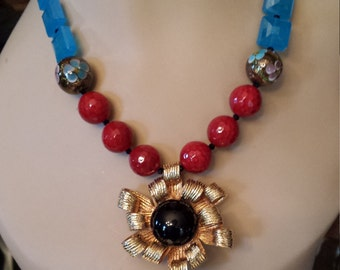 One strand beaded necklace made with vintage drop, red faceted freshwater pearl,  artist made hand blown glass beads