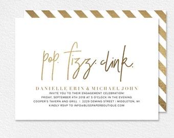 Engagement Party Invitation, Party Invitation, Engagement Party Printable, Pop Fizz Clink, Gold Invitation, PDF Instant Download #BPB323_8
