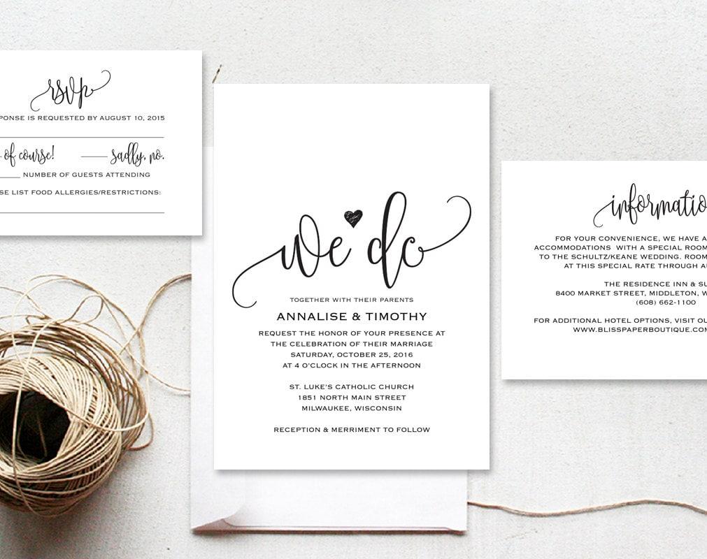 Template For Wedding Invitations: We Do Wedding Invitation Template Rustic Kraft Invitation