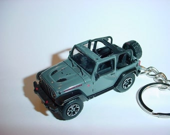 3D Jeep Wrangler Rubicon X custom keychain by Brian Thornton keyring key chain finished in grey color factory trim 4x4 offroad mission truck