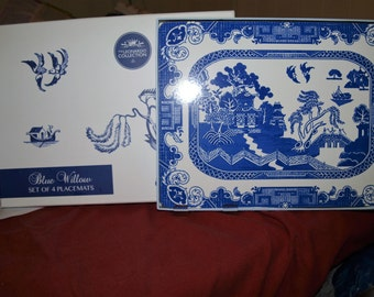 Blue and White Set of 4 Placemats