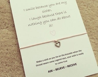 I smile because you're my sister wish bracelet