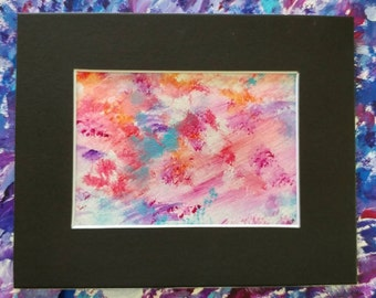 "Colorful Original Abstract Watercolor Painting/Matted and Mounted 8""x10"""