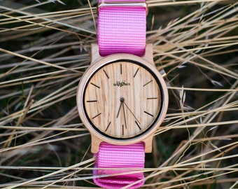 Elegant Handmade Wood Watches With Czech Design Made From Maple With Pink Nato Strap