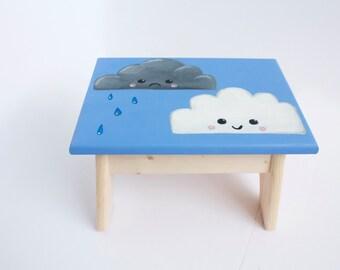 Hand-Painted Cloud Step Stool / Foot Stool
