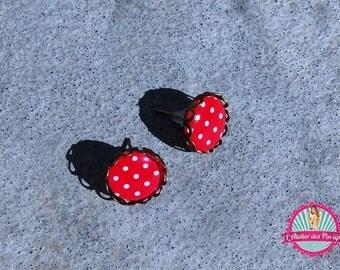 Ear chips retro pin up, polka dots, cabochon glass