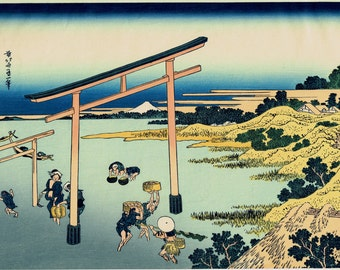 "Japanese Ukiyo-e Woodblock print, Katsushika Hokusai, ""Bay of Noboto, from the series Thirty-six Views of Mount Fuji"""