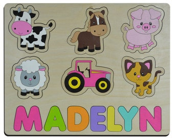 Farm Animal's Personalized Wooden Name Puzzle Custom Made Wood Educational Toy Gift Giving for First, Second or Third Birthday 285424391