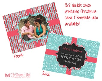 Christmas Card Template Holiday Card Printable Greeting Card