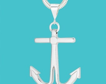 Anchor Snake Chain Necklace - Sterling Silver