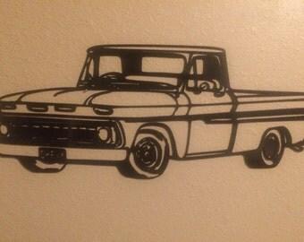 1964-66 Chevy C-10 truck metal wall art.