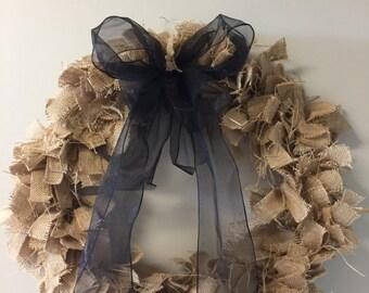 Burlap Wreath With Black Ribbon