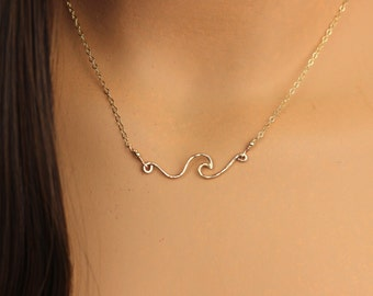 Dainty Wave Necklace, Petite Wave, Gold Filled or Sterling Silver