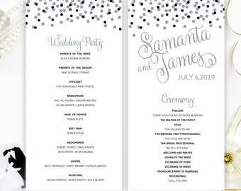 Wedding Programs Printed On White Shimmer Cardstock