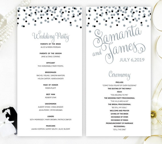 Wedding Programs Printed On White Shimmer Cardstock Silver