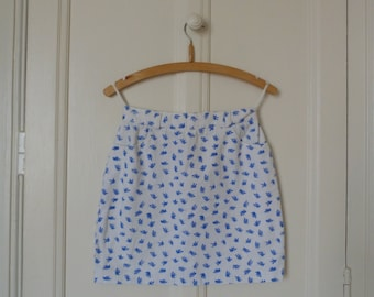 White flowers vintage skirt blue - mini skirt retro