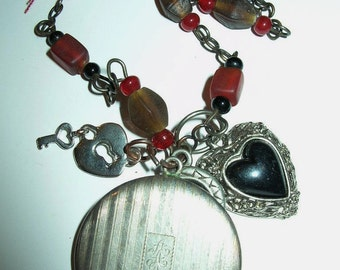 Necklace Vintage Locket Heart Red Rosary Beads